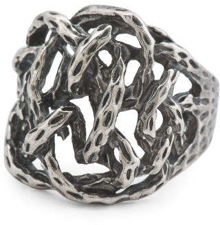 Men's Made In Italy Oxidized Sterling Silver Twisted Ring