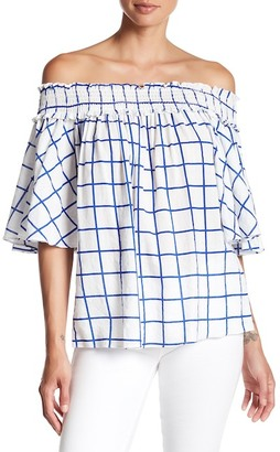 Do + Be Windowpane Off-the-Shoulder Blouse $57 thestylecure.com