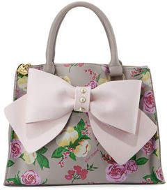 Betsey Johnson Double-Zip Bow-Front Satchel Bag