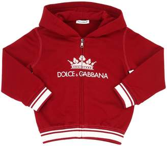Dolce & Gabbana Crown Zip-Up Cotton Sweatshirt Hoodie