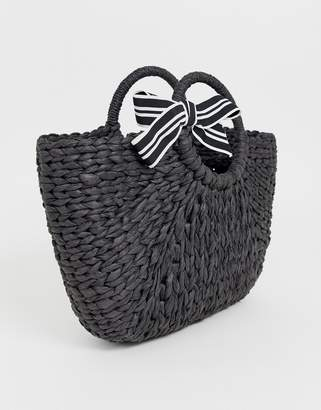 Hat Attack black straw basket with ribbon