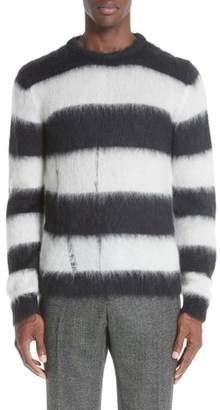 Saint Laurent Stripe Mohair Blend Crewneck Sweater