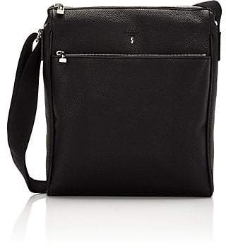 Serapian Men's Cachemire Vertical Zip Messenger - Black