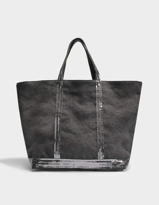Vanessa Bruno Linen and Sequins Medium + Tote Bag in Plomb Linen