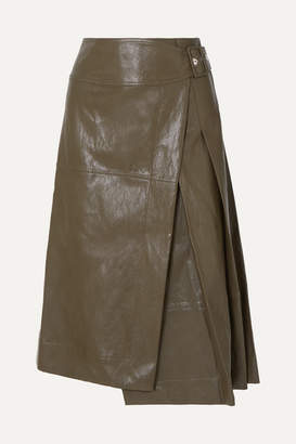 Cédric Charlier Glossed Faux Leather Wrap Midi Skirt - Army green