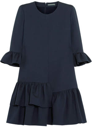 Alexander McQueen Ruffled Wool-blend Mini Dress - Midnight blue