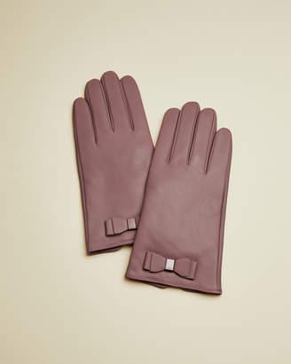 Ted Baker BBLAKE Bow detail leather gloves