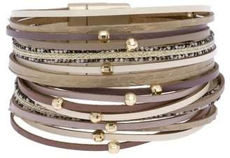 Saachi Looking Good Beaded Leather Multi Strand Bracelet