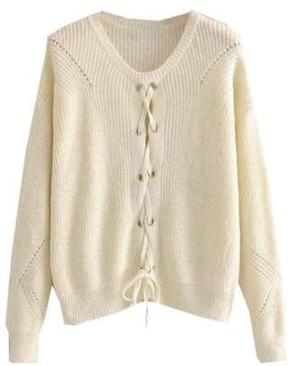 Goodnight Macaroon 'Jess' Rib-Knitted Lace-Up Sweater