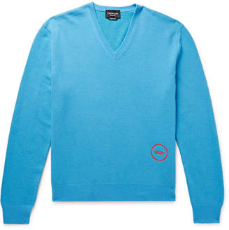 Calvin Klein Logo-Embroidered Wool And Cotton-Blend Sweater