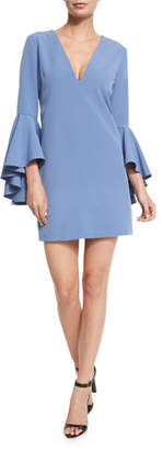 Milly Nicole Bell-Sleeve Cady Shift Dress $380 thestylecure.com