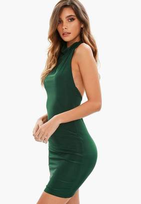 Missguided Green High Neck Cowl Bodycon Dress, Green