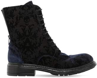 567006a54 Fru.it 20mm Printed Velvet Lace Up Ankle Boots