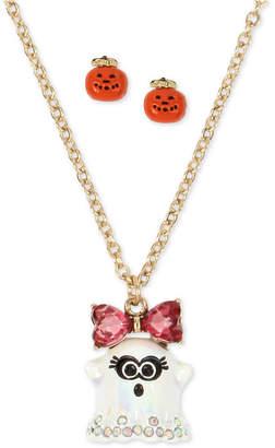 "Betsey Johnson Gold-Tone Crystal Ghost Pendant Necklace & Jack-o-Lantern Stud Earrings Set, 16"" + 3"" extender"