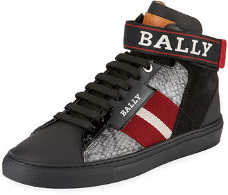 Bally Men's Heros Snake-Trim High-Top Sneaker with Ankle Grip-Strap