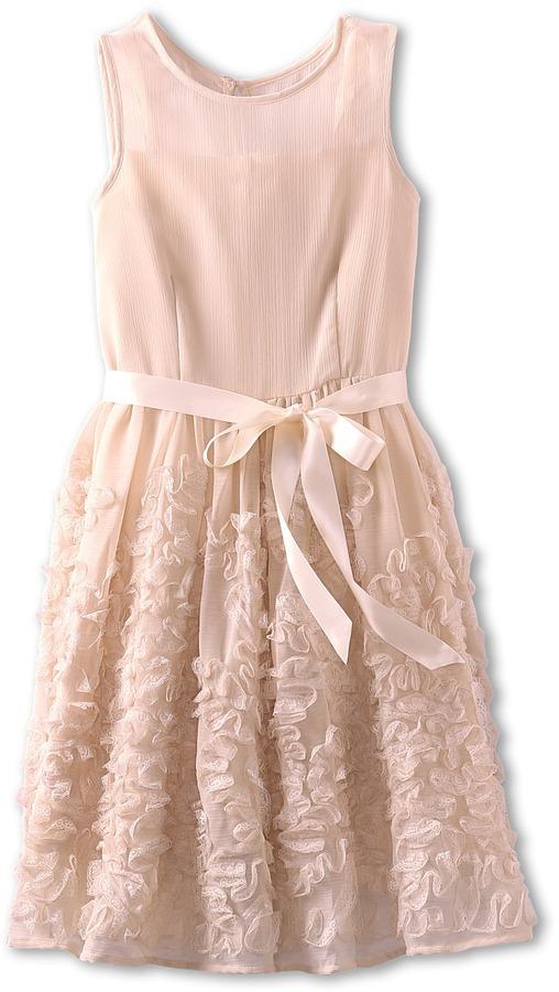 Us Angels Lace Detail Crinkle Chiffon Dress Girl's Dress