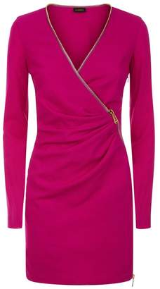 La Perla Daily Looks Fuchsia Short Cool-Wool Zip Dress With Leavers Lace Panel