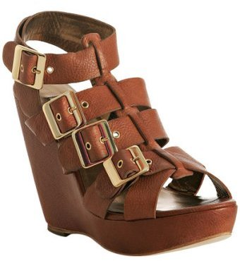 Cynthia Vincent tobacco leather 'Harper' gladiator wedge sandals
