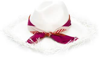 Borsalino ribbon frayed-trim hat