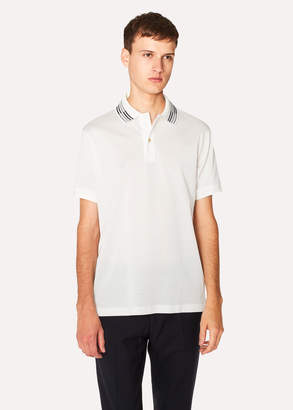 Paul Smith Men's Slim-Fit White Cotton-Pique Polo Shirt With Stripe Tipping