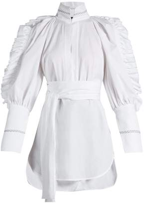 Angelface high-neck ruffle-trimmed top