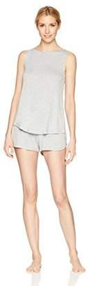 Mae Women's Sleeveless Split Back Top and Short Pajama Set