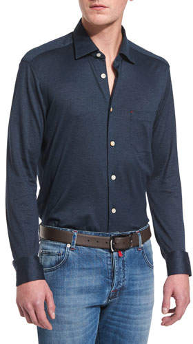 Kiton Long-Sleeve Pique Sport Shirt, Navy