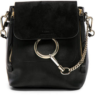 Chloé Small Faye Backpack Suede & Calfskin in Black | FWRD