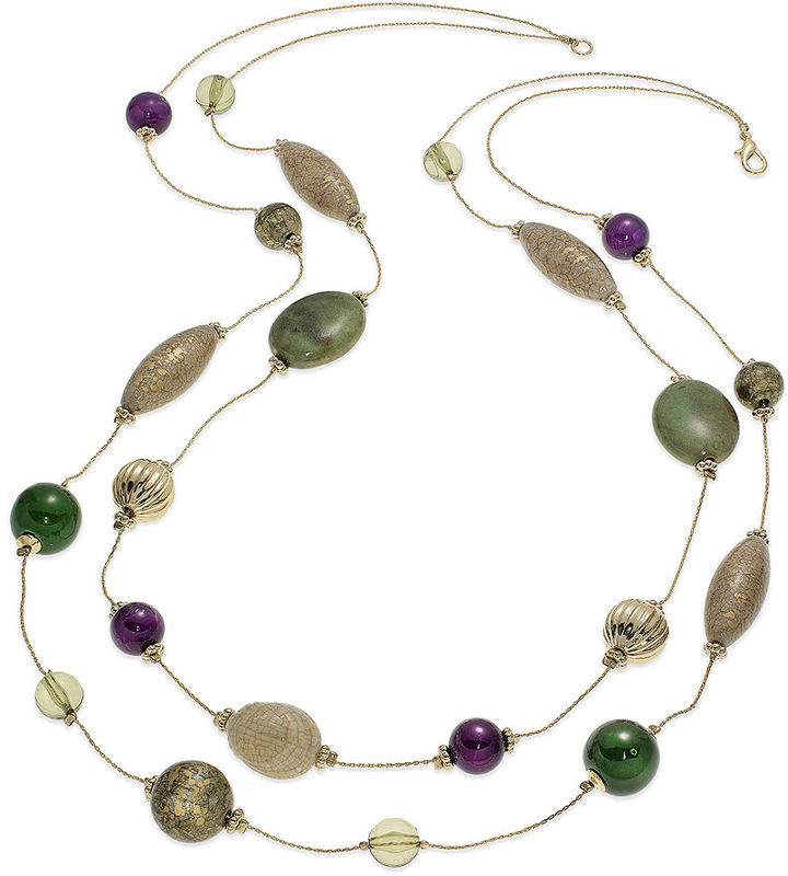 Style&Co. Necklace, Green and Purple 2 Row Long Illusion Necklace