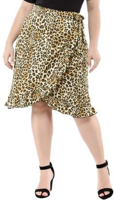 Unique Bargains Women's Plus Size Wrap Ruffle Hem Tie Waist Leopard Skirt
