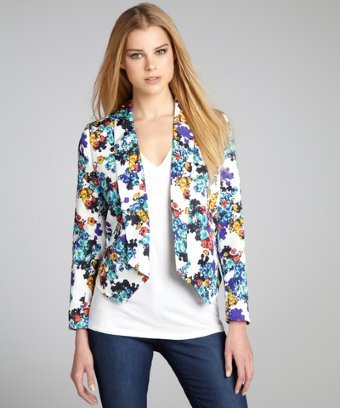 Ellen Tracy blue and white floral printed long sleeve tuxedo jacket