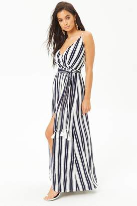 Forever 21 Striped Surplice M-Slit Cami Maxi Dress