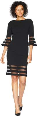 Calvin Klein Bell Sleeve Dress with Illusion CD8C19MQ Women's Dress