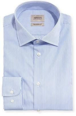 Armani Collezioni Striped Modern-Fit Dress Shirt, Blue