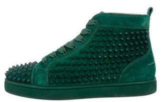 Christian Louboutin Suede Louis Spikes High-Top Sneakers