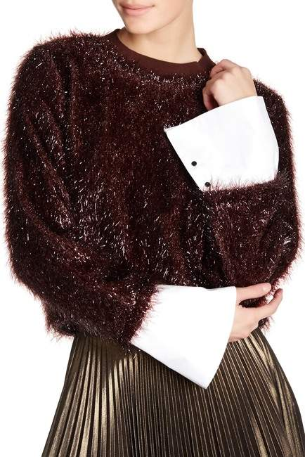 TOV Lustrous Faux Fur Sweatshirt
