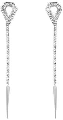 Karl Lagerfeld Rhodium Plated Swarovski Crystal Accented Open Diamond & Spike Drop Earrings