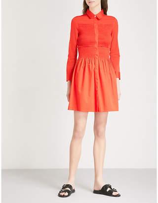 Maje Roumpa smocked cotton mini shirt dress