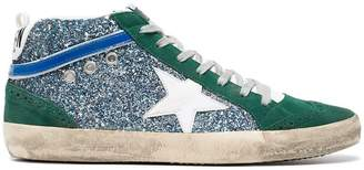 Golden Goose Green Mid Star glitter suede and leather sneakers