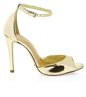 Schutz Women's Saasha Lee Metallic Leather Ankle-Strap Heels