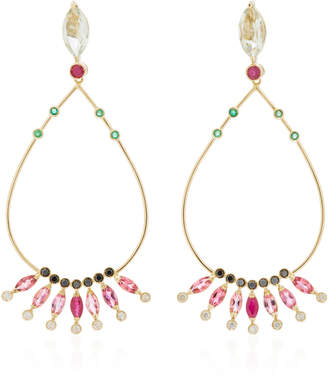 Carolina Neves 18K Gold Multi-Stone Drop Earrings