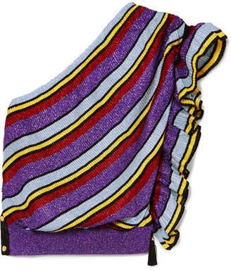 Philosophy di Lorenzo Serafini One-shoulder Striped Metallic Ribbed-knit Top - Pink