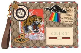 Gucci Gg Supreme Patch Coated Canvas Pouch - Mens - Brown Multi