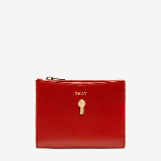 Bally Cogan Red, Women's plain calf leather French wallet in papavero