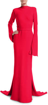 Brandon Maxwell Long-Sleeve Gown with Waterfall Train