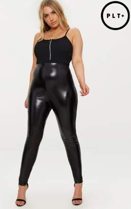 PrettyLittleThing Plus Black Metallic High Waisted Leggings