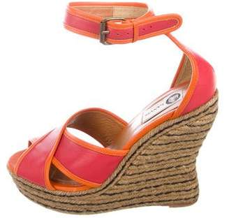Lanvin Leather Espadrille Wedge Sandals
