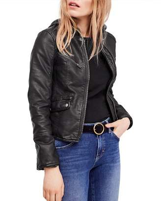 Free People Monroe Hooded Faux-Leather Jacket