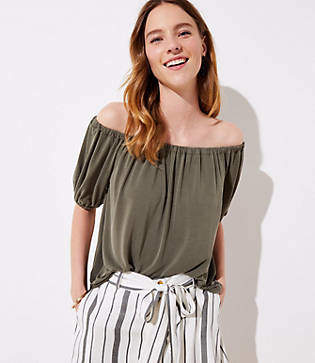 LOFT Petite Sandwashed Short Sleeve Top
