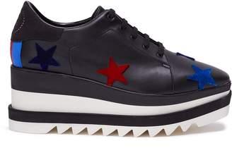 Stella McCartney 'Sneak-Elyse' star patch faux leather platform Derbies